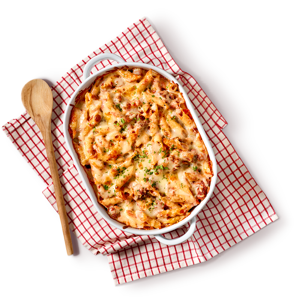 Top view of baked mostaccioli.